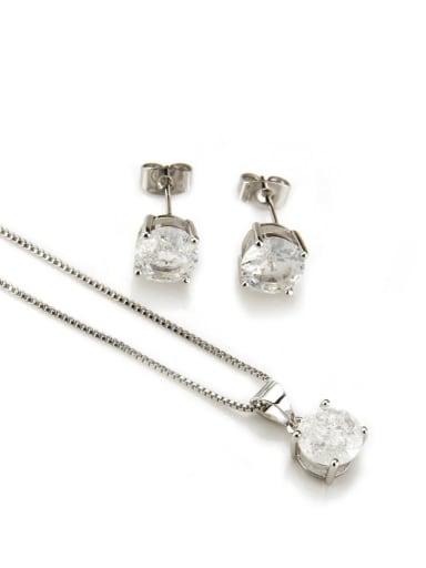 Platinum  white zircon Brass Cubic Zirconia Vintage Geometric  Earring and Necklace Set