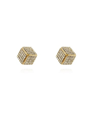 Copper Rhinestone Square Dainty Stud Earring