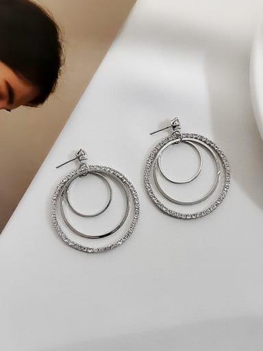 White K Copper Cubic Zirconia Geometric Luxury Drop Earring