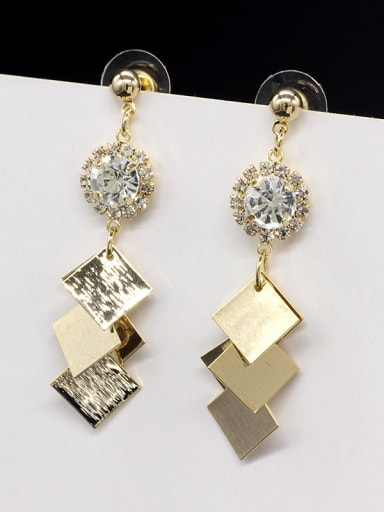 18K gold Copper Smooth Square Minimalist Long Drop Earring