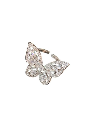 Alloy+ Rhinestone White Butterfly Trend Statement Ring/Free Size Ring