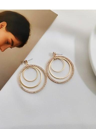 14K gold Copper Cubic Zirconia Geometric Luxury Drop Earring
