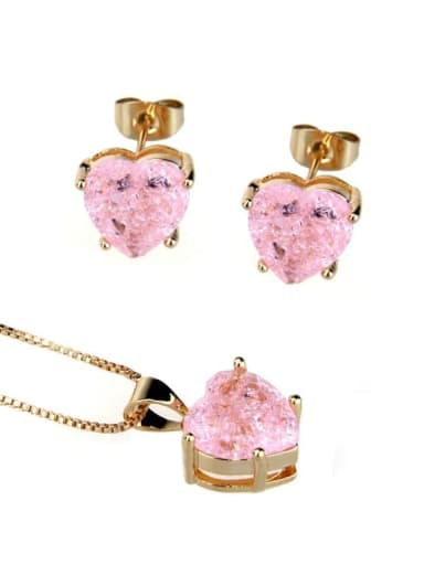Gold Plated Pink explosive stone Brass Cubic Zirconia Dainty Heart  Earring and Necklace Set