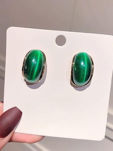 Silver needle. (real gold) Green Opal Alloy Cats Eye Geometric Minimalist Stud Earring