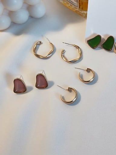 Copper Enamel Geometric Vintage Stud Earring