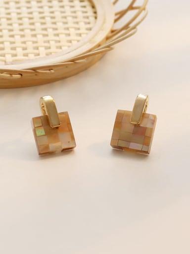 Dark yellow lattice Copper Acrylic Geometric Ethnic Drop Earring
