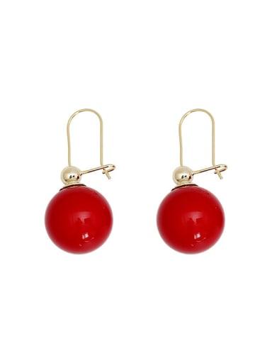 Copper Enamel Geometric Minimalist Hook Earring