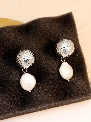 White K Copper Freshwater Pearl Geometric Vintage Drop Earring