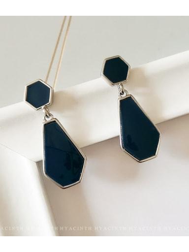 White K royal blue Copper Enamel Geometric Vintage Drop Earring