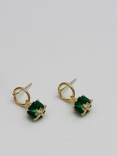 14K gold green crystal Copper Cubic Zirconia Geometric Dainty Drop Earring