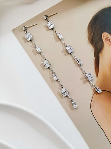 white K Copper Cubic Zirconia Tassel Dainty Threader Earring