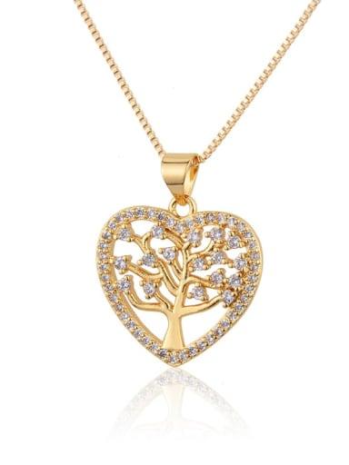 Brass Rhinestone Heart Minimalist Necklace