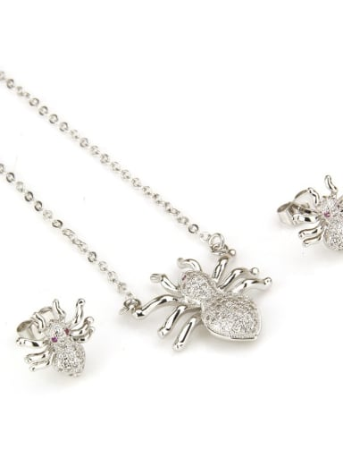 White Gold spider suit Brass  Cubic Zirconia Insect Earring and Necklace Set