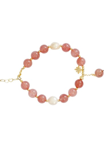 Copper Freshwater Pearl Minimalist Strawberry crystal Bracelet
