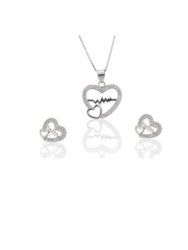 silvery Brass Rhinestone Dainty Heart  Earring and Necklace Set