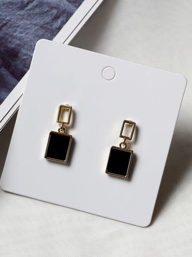 14K  gold black Copper Enamel Geometric Minimalist Drop Earring
