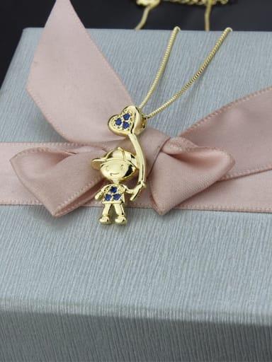 Brass Rhinestone Ball Cute Boy Pendant  Necklace
