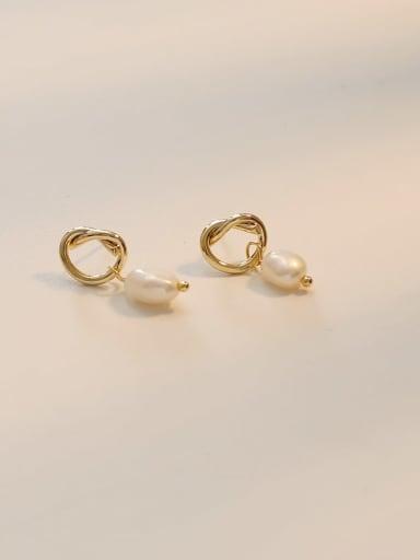 14K gold Copper Imitation Pearl Geometric Ethnic Huggie Earring