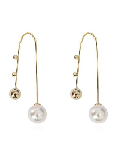 14k gold Copper Imitation Pearl Tassel Ethnic Threader Earring