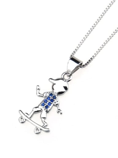 Color zirconium plated with platinum Brass Cubic Zirconia Angel Cute Necklace