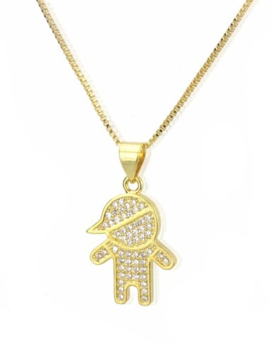 gold-plated Brass Cubic Zirconia boy and girl Cute Necklace