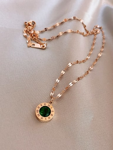Titanium Crystal Green Number Trend Number Necklace