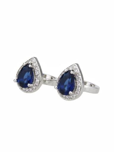 Platinum plating Brass Water Drop Cubic Zirconia  Luxury Clip Earring