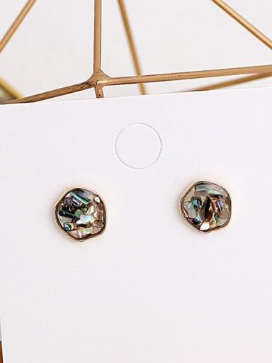 grey Copper Opal Geometric Dainty Stud Earring