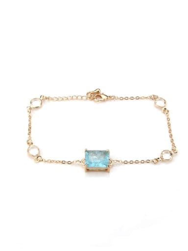 Gold Plated blue Blaster Brass Cubic Zirconia Geometric Vintage Link Bracelet