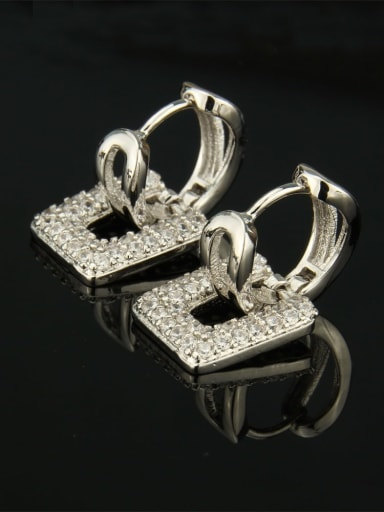 Platinum plated white zircon Brass Cubic Zirconia Square Luxury Huggie Earring