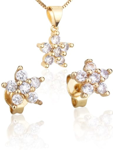 Brass Cubic Zirconia Dainty Star  Earring and Necklace Set