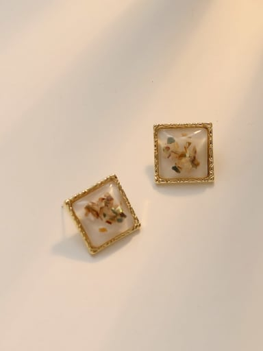 white Copper Acrylic Square Vintage Stud Earring