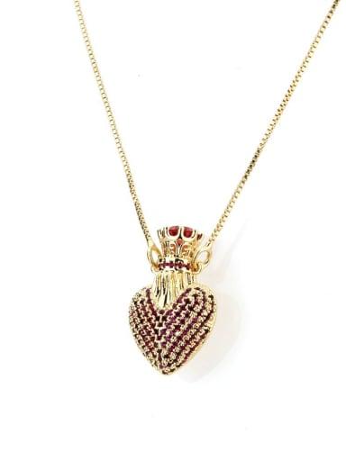 gules Brass Cubic Zirconia Heart Dainty Necklace