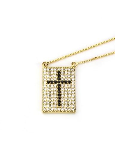 Gold Plated Black zircon Brass Cubic Zirconia Cross Dainty Initials Necklace