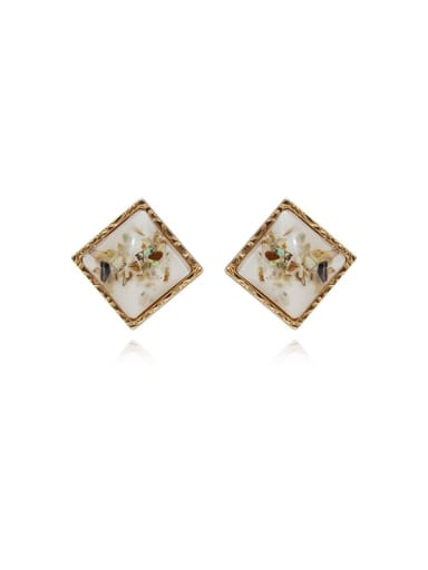 Copper Acrylic Square Vintage Stud Earring