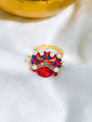 Top hat Alloy+ Red Face Or Hat Statement Statement Ring/Free Size Ring