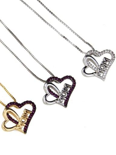 Brass Cubic Zirconia Heart Minimalist Necklace