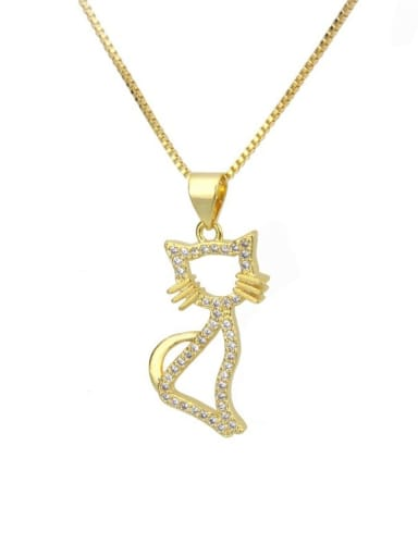 gold-plated Brass Cubic Zirconia Cat Cute Necklace