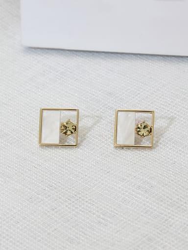Square yellow diamond Copper Shell Round Minimalist Stud Earring