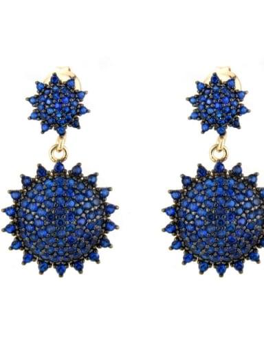 Gold Plated blue Brass Cubic Zirconia Irregular Luxury Drop Earring