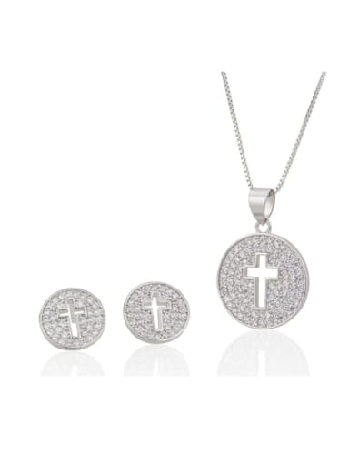 silvery Brass Cross  Cubic Zirconia Earring and Necklace Set