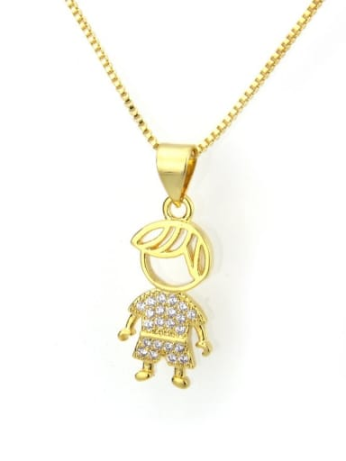 Gilded boy Brass Cubic Zirconia Cute Necklace