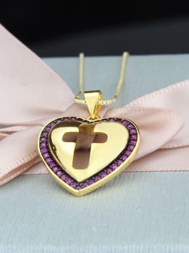 Gold Plated Red zirconium Brass Cubic Zirconia Heart Minimalist Regligious Necklace