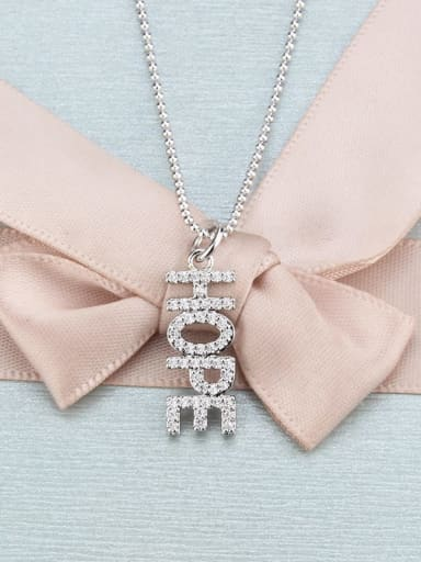platinum Brass Cubic Zirconia Letter Dainty Necklace