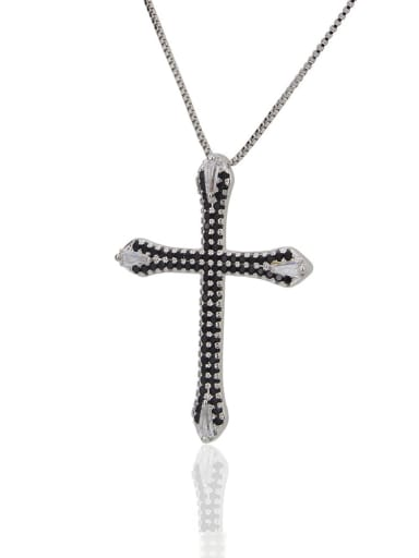 Silver Black Brass Cubic Zirconia Cross Pendant Necklace