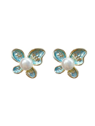 Mixed Metal Freshwater Pearl White Butterfly Cute Stud Earring