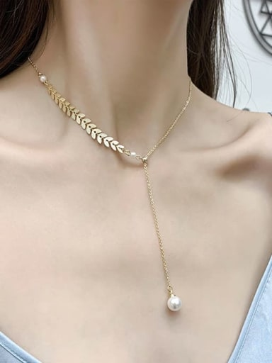 Titanium Imitation Pearl White Feather Trend Lariat Necklace