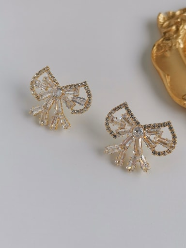 gold Copper Cubic Zirconia Bowknot Dainty Stud Earring