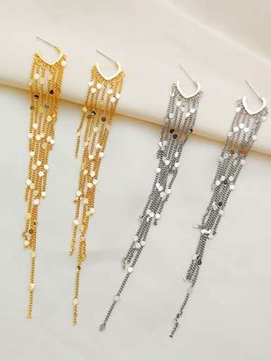Copper Tassel Dainty Threader Earring