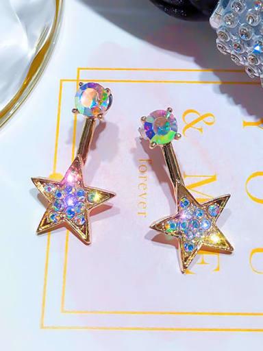 Golden Mixed Metal Rhinestone Multi Color Star Classic Drop Earring